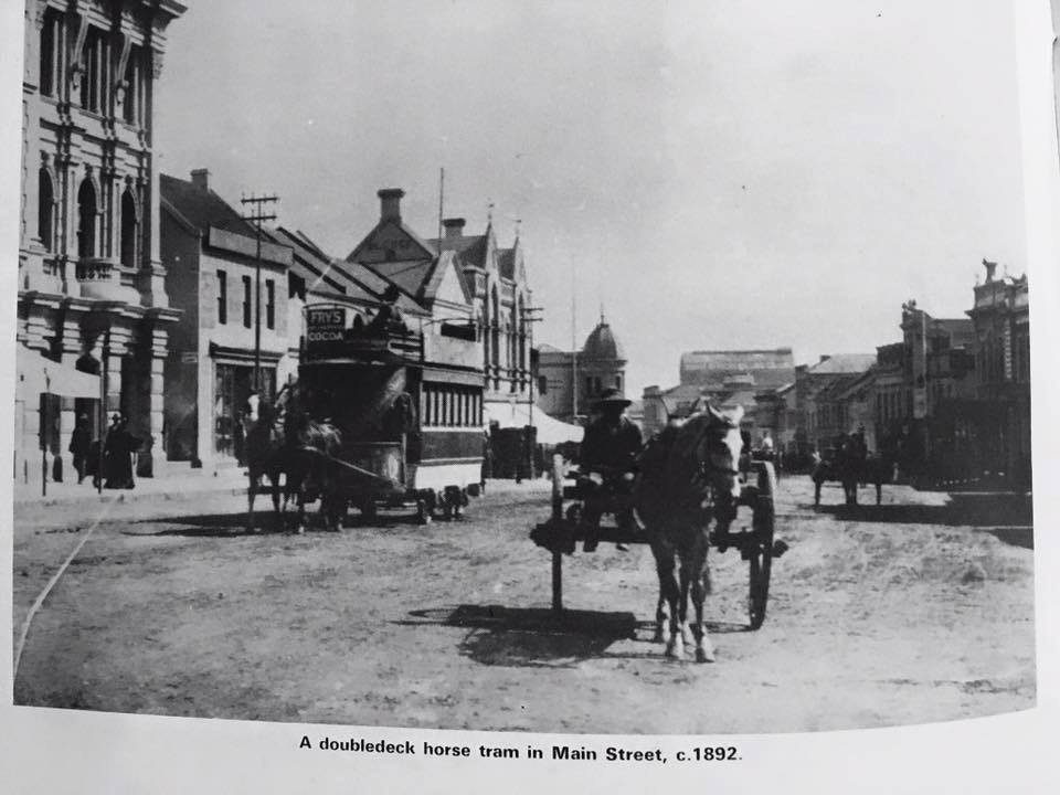 Horse drawn cart and tram