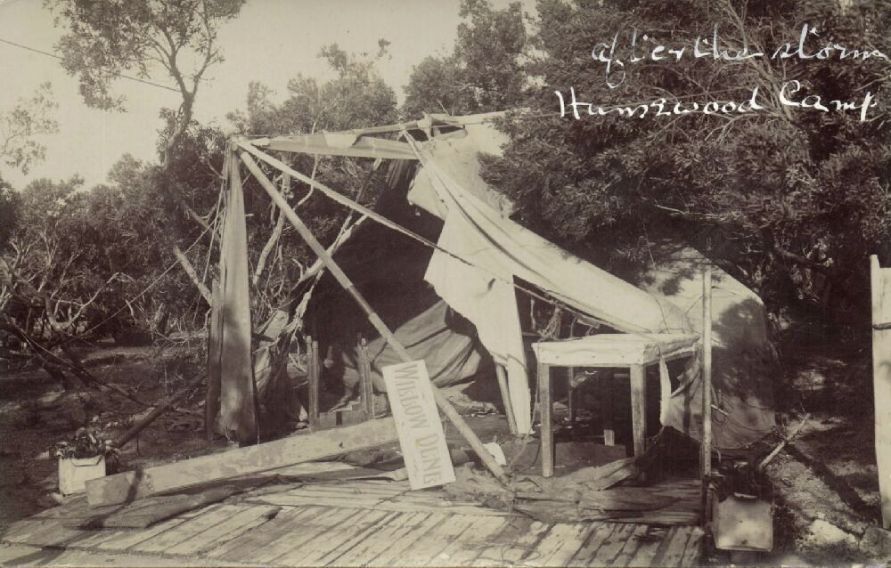 Storm Damage at Humewood Camp in 1913