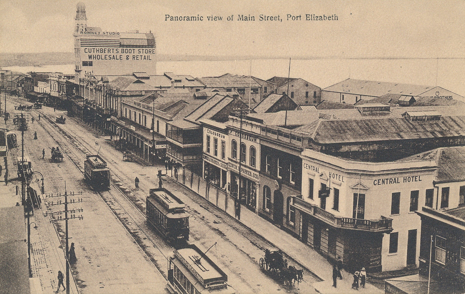 Main Street showing trams, Central Hotel and Cuthberts
