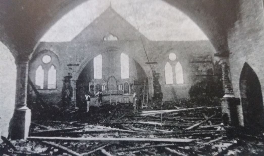 St Mary's Church in 1895, the destruction inside the church