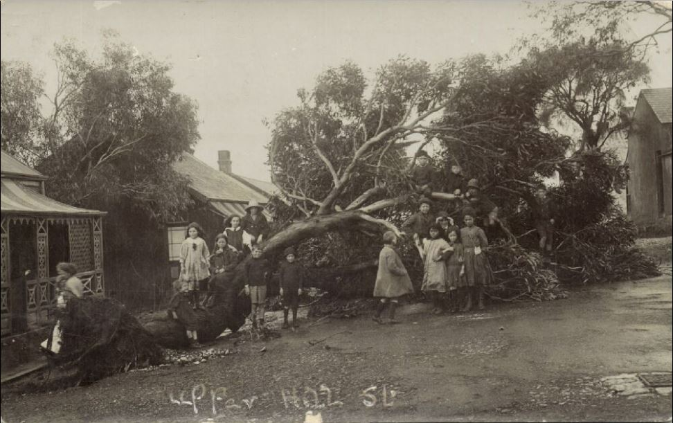 Storm damage in Upper Hill Street in 1913