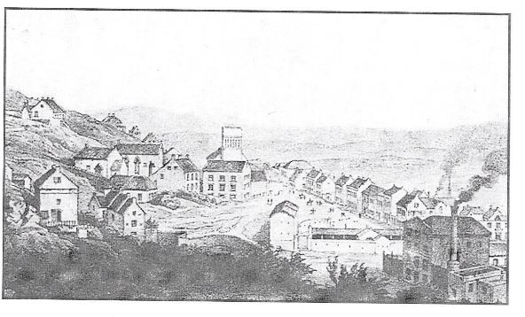 The Commissariat Building at the centre right built in 1837