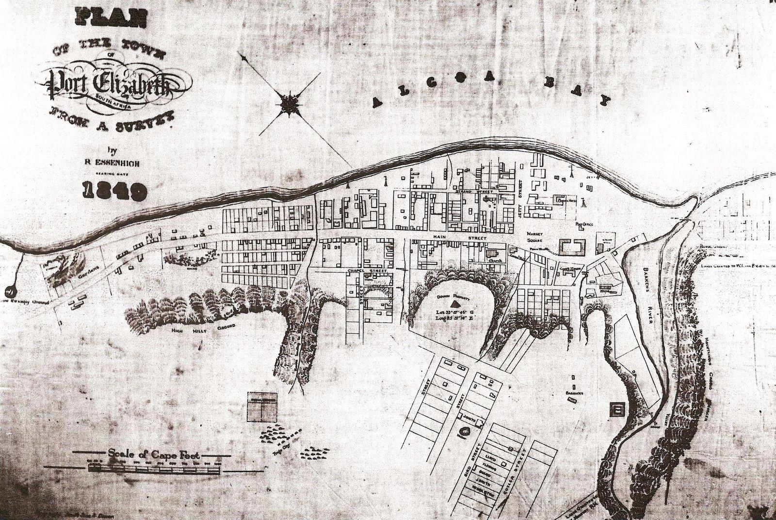 Map of Port Elizabeth in 1849