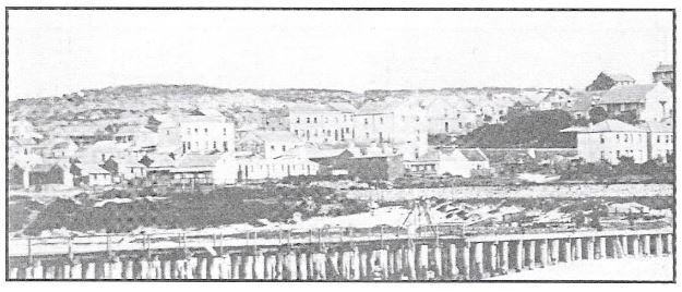 View of South End circa 1869 from the breakwater showing the development south of Walmer Road