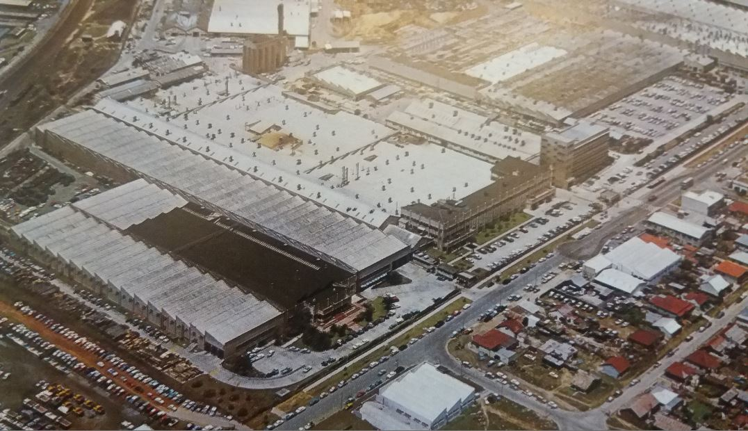 Aerial view of General Motors' plant in Kempston Road