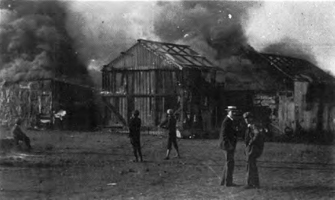 Burning of huts in Stranger's Location in 1903