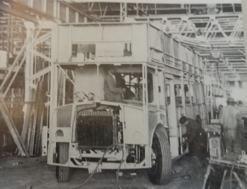 Double decker buses under construction at Bus Bodies for the Cape Tramways