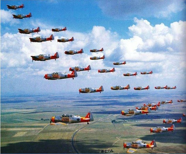 Massed formation over the Highveld- SA was the largest user of Harvards in the 90's