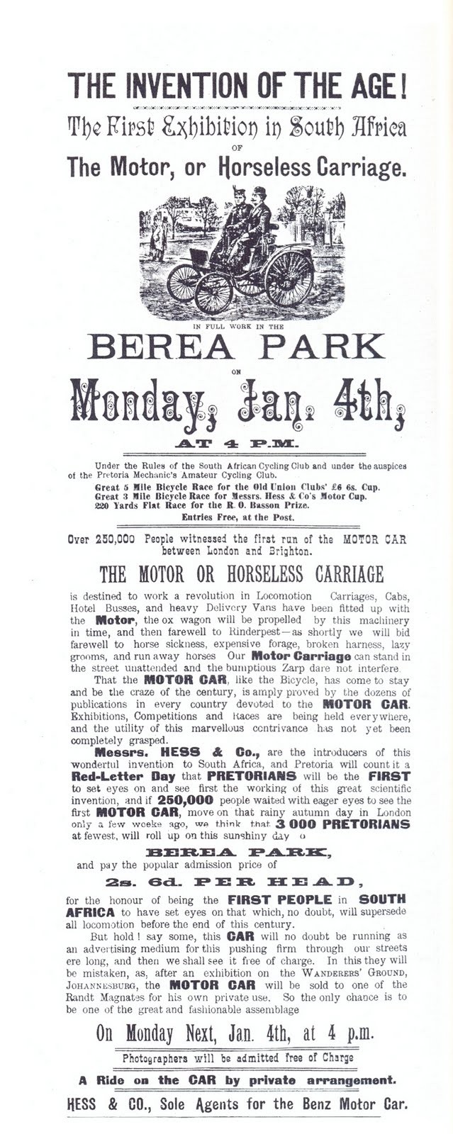 Notice of the display of a Benz-Velo at Berea Park in Pretoria