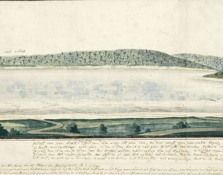 View of a saltpan, near the mouth of the Swartkops River by RJ Gordon in 1778